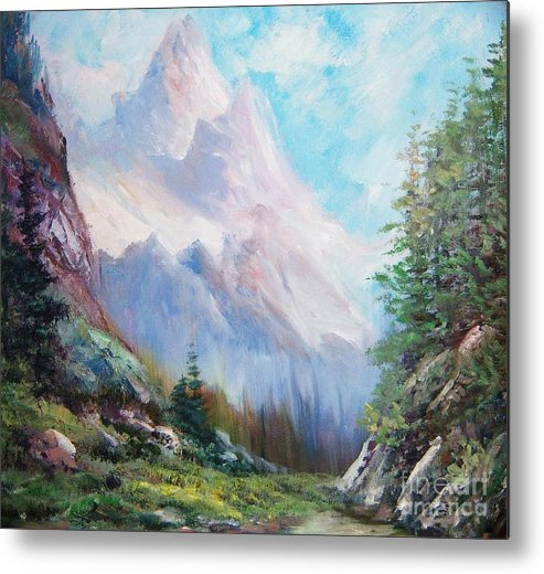 Mountains Metal Print featuring the painting Like Music by Judy Groves