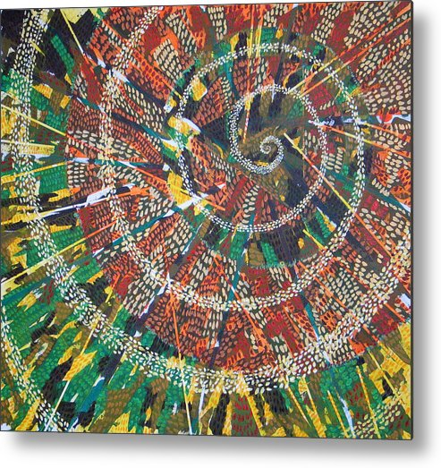 Non-representational Metal Print featuring the painting Microcosm Xiv by Rollin Kocsis