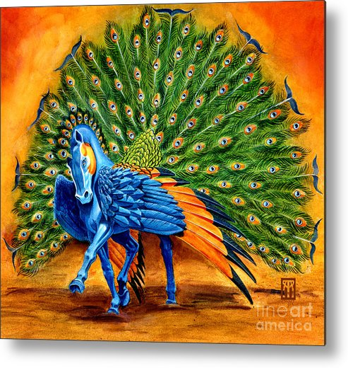 Horse Metal Print featuring the painting Peacock Pegasus by Melissa A Benson