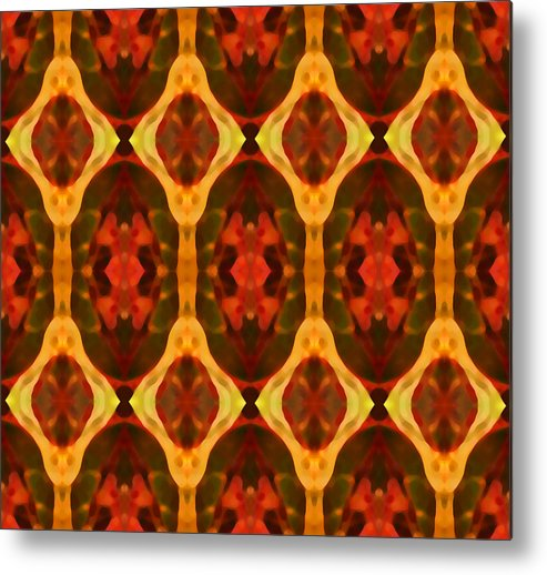 Abstract Metal Print featuring the painting Ruby Glow Pattern by Amy Vangsgard
