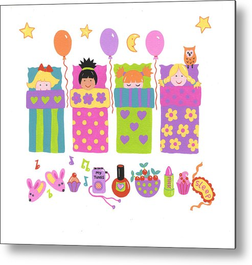 Slumber Party Metal Print featuring the painting Slumber Party by Barbara Leonard
