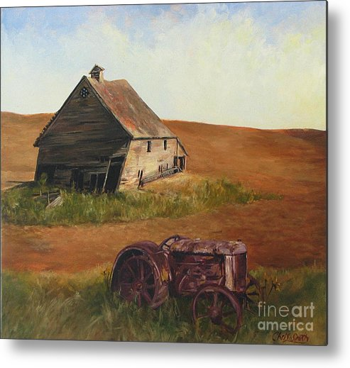 Oil Paintings Metal Print featuring the painting The Forgotten Farm by Chris Neil Smith