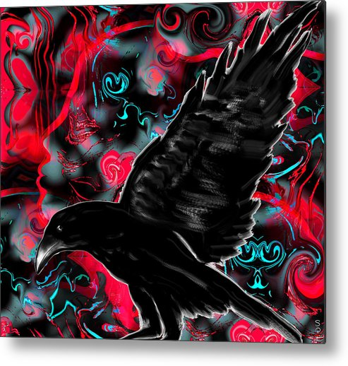 Crow Metal Print featuring the painting You Can Crow Your Own Way by Abstract Angel Artist Stephen K