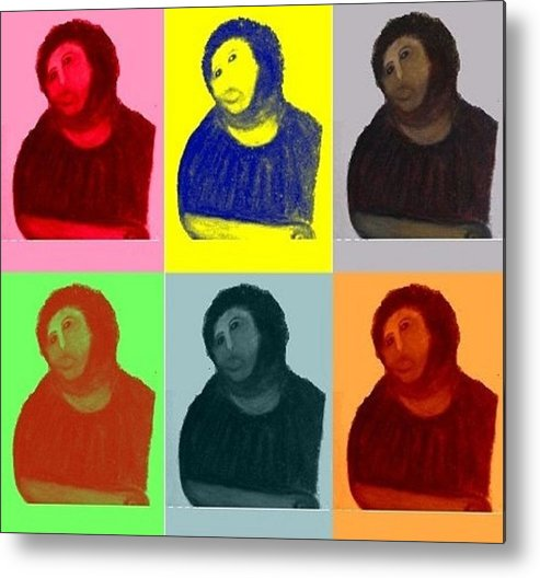 Art Metal Print featuring the mixed media Ecce Homo - Warhol Style by Sam Mart