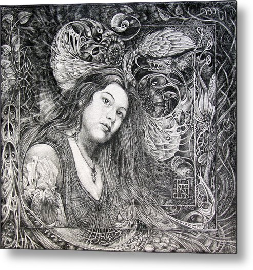Portrait Metal Print featuring the drawing Christan Portrait by Otto Rapp