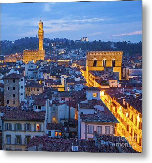 Florence Metal Print featuring the photograph Elevated Night View Of Central Florence by Liz Leyden