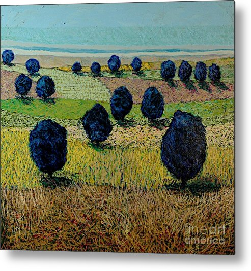 Landscape Metal Print featuring the painting Faraway Field by Allan P Friedlander