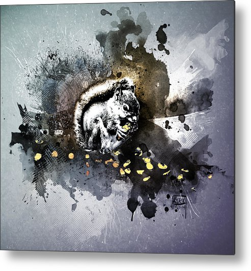 Squirrel Metal Print featuring the digital art Grungy Hungry Squirrel by Matt Kirk