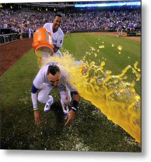 Salvador Perez Diaz Metal Print featuring the photograph Houston Astros V Kansas City Royals by Ed Zurga