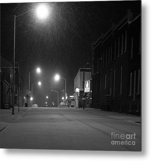 Black And White Photography Metal Print featuring the photograph Snowing On W. Fourth St. by Julie Dant
