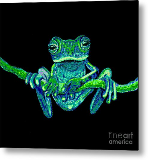 Green Ghost Frog Metal Print featuring the painting Green Ghost Frog by Nick Gustafson