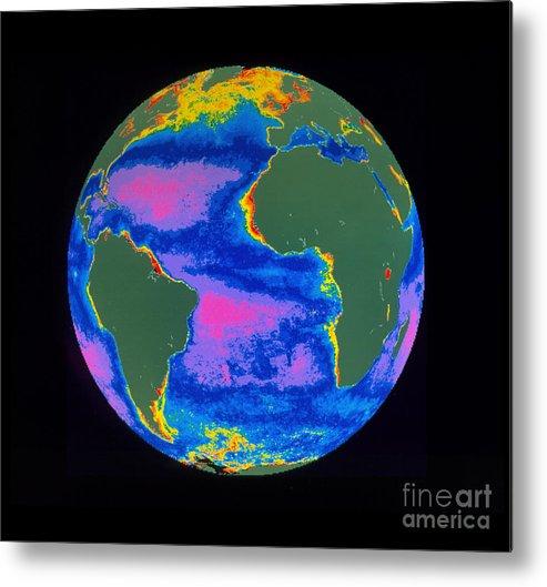 Algal Bloom Metal Print featuring the photograph Satellite Image Of The Atlantic Ocean by Dr. Gene Feldman, NASA Goddard Space Flight Center