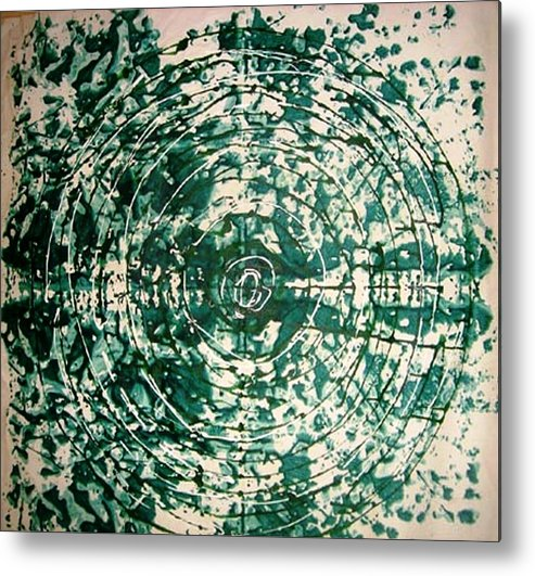 Circle Abstract Metal Print featuring the painting The Eternal Circle by Baljit Chadha