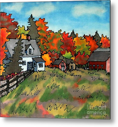 Fall Metal Print featuring the painting Autumn Farmstead Silk Painting by Linda Marcille