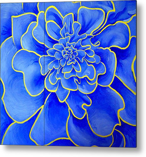 Diptych Metal Print featuring the painting Big Blue Flower by Geoff Greene