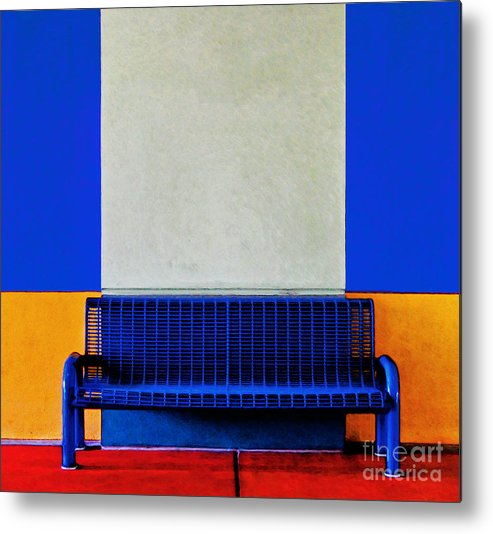Color Metal Print featuring the photograph Blue Bench by Curtis Staiger