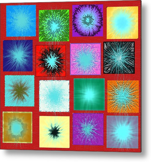 A Group Of Colored Boxes Containing Colored Circles With Contrast And Shades Using Ps. Metal Print featuring the digital art Boxes by Yaser Saad