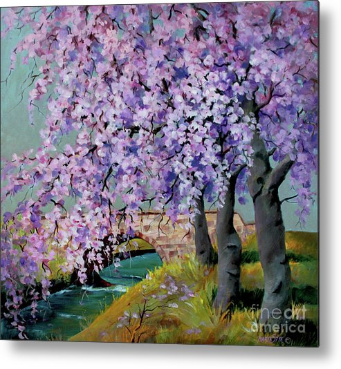 Landscape Metal Print featuring the painting Cherry Blossoms by Marta Styk