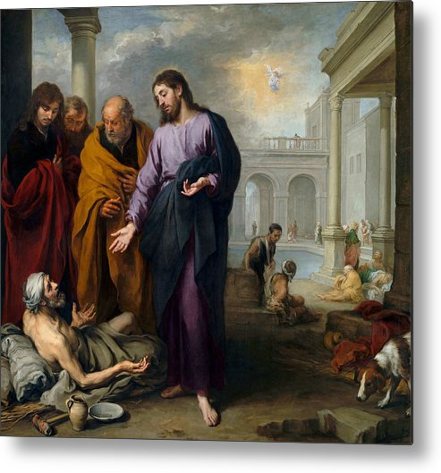 Christ Healing Metal Print featuring the painting Christ Healing At Pool Of Bethesda by Murillo