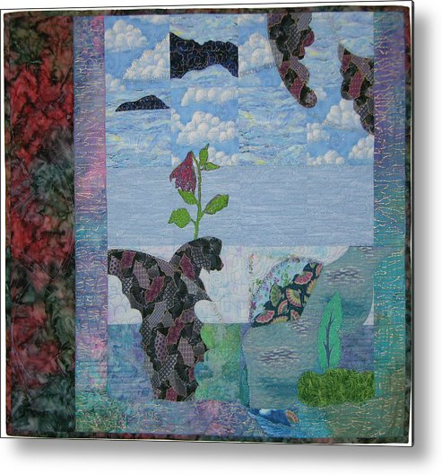 Seascape -- Surrealistic Imagery Metal Print featuring the tapestry - textile Cloudy Fans by Salli McQuaid