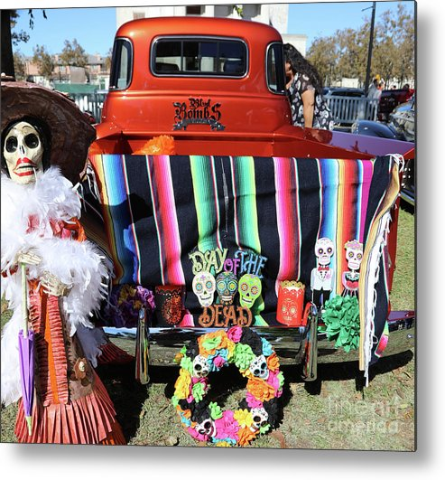 Dia De Los Muertos Metal Print featuring the photograph Day Of The Dead Truck Decorations by Chuck Kuhn
