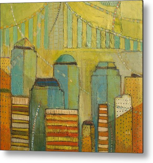 Metal Print featuring the painting Downtown Manhattan by Habib Ayat