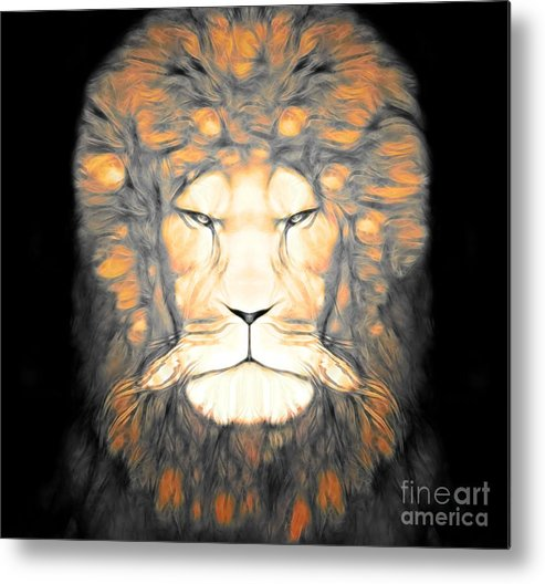 Abstract Lion Metal Print featuring the digital art Fearless by Devalyn Marshall