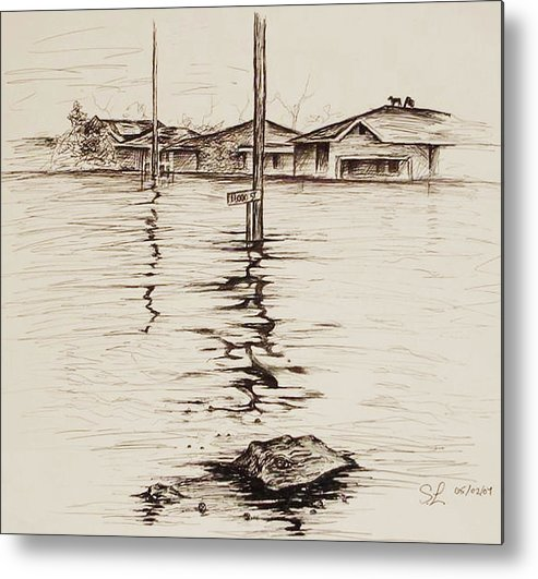 Louisiana Metal Print featuring the painting Flood St. by Sarah Lonthier
