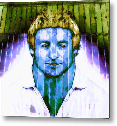 Male Portrait Metal Print featuring the digital art Footballer by Devalyn Marshall