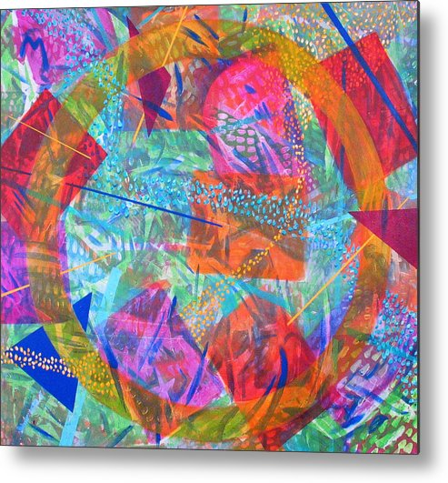 Abstract Metal Print featuring the painting Microcosm Iv by Rollin Kocsis