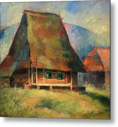 Old Small House Metal Print featuring the painting Old Small House by Arthur Braginsky