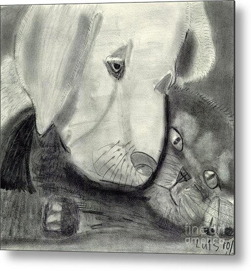 Pets Graphite Metal Print featuring the painting Pets by Epic Luis Art