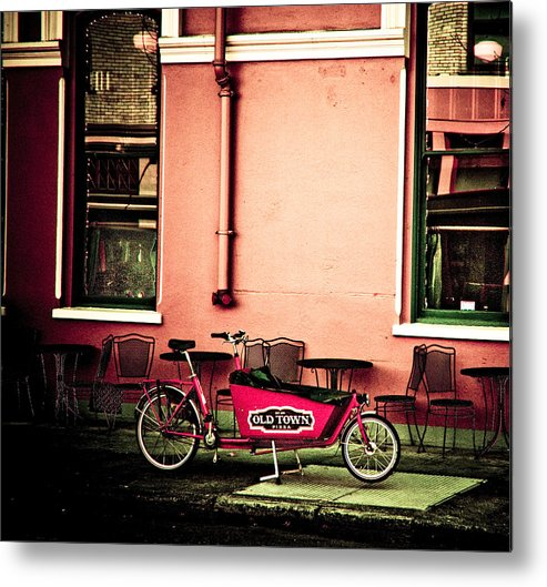 Portland Metal Print featuring the photograph Pizza Delivery Bike by Craig Perry-Ollila