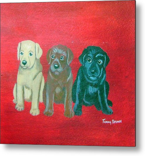 Labrador Metal Print featuring the painting Puppy Love by Tammy Brown