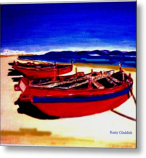 Boats Metal Print featuring the painting Red Boats by Rusty Woodward Gladdish