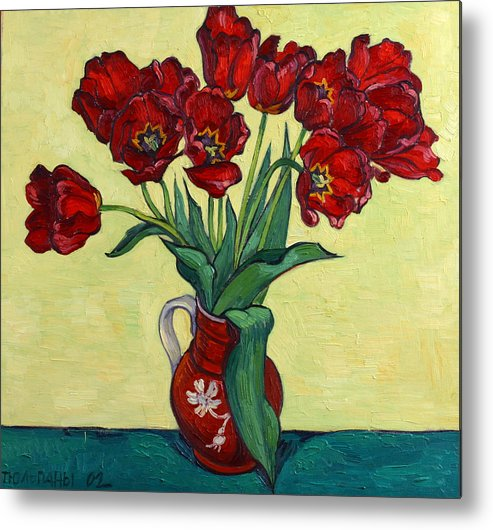 Tulip Metal Print featuring the painting Red Tulips In A Red Jug by Vitali Komarov