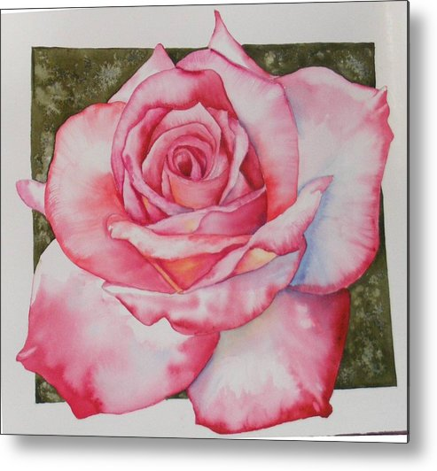 Red Metal Print featuring the painting Rose 3 by Diane Ziemski