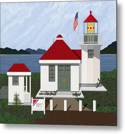 Skunk Bay Lighthouse Metal Print featuring the painting Skunk Bay Lighthouse by Anne Norskog