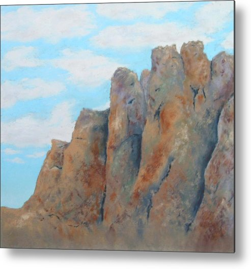 Landscape Metal Print featuring the painting Smith Rock by Carl Capps