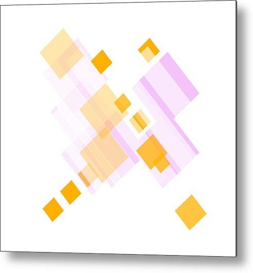 Orange Metal Print featuring the digital art Soft Orange And Delicate Pink by Ewelina Karbownik