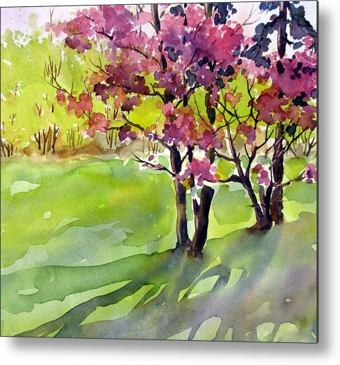 Watercolor Metal Print featuring the painting Spring Blossoms by Chito Gonzaga
