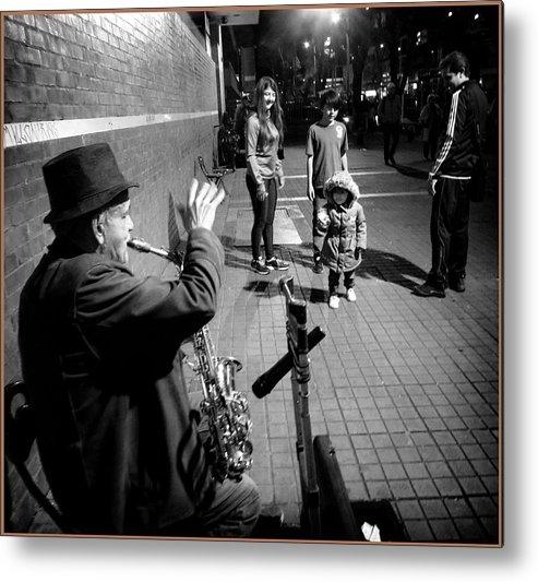 Street Portrait Metal Print featuring the photograph Little Girl Waving Back by Daniel Gomez