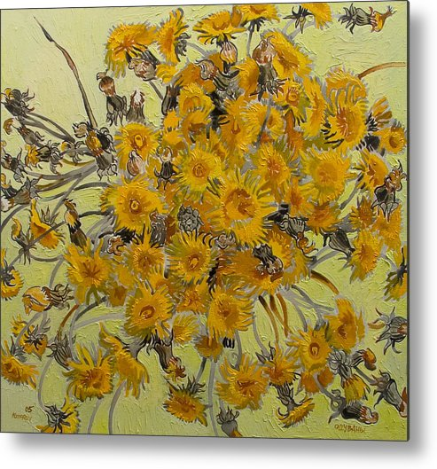 Dandelions Metal Print featuring the painting Sunny Dandelions by Vitali Komarov