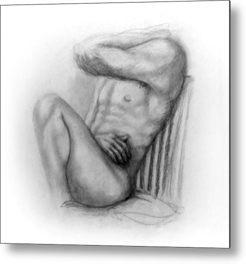 Man Metal Print featuring the drawing Torso Chris I by John Clum