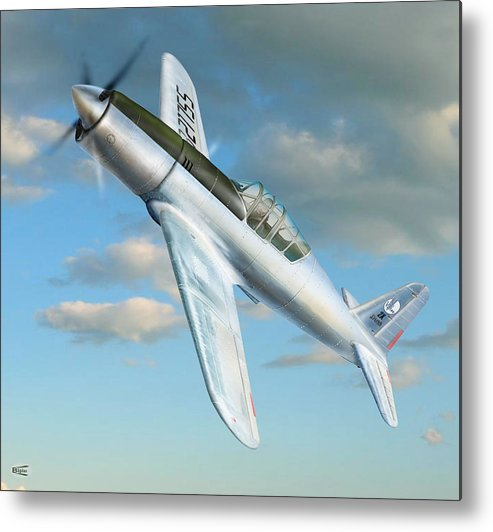 Digital Aviation Art Aviation Pictures Aviation Metal Print featuring the photograph Vultee P 66 Experimental Fighter by Alex Arkhipau