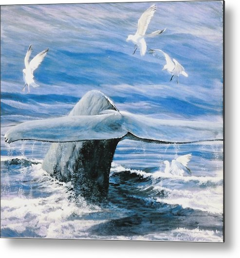 Wildlife Metal Print featuring the painting Whale by Steve Greco