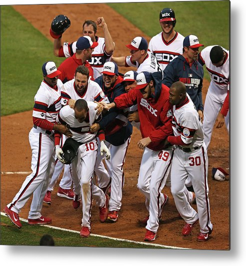 American League Baseball Metal Print featuring the photograph Cleveland Indians V Chicago White Sox 1 by Jonathan Daniel