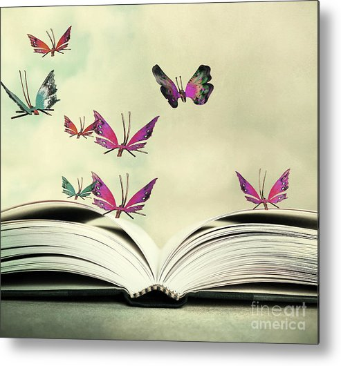 Flight Metal Print featuring the photograph Artistic Image Of An Open Book And by Valentina Photos