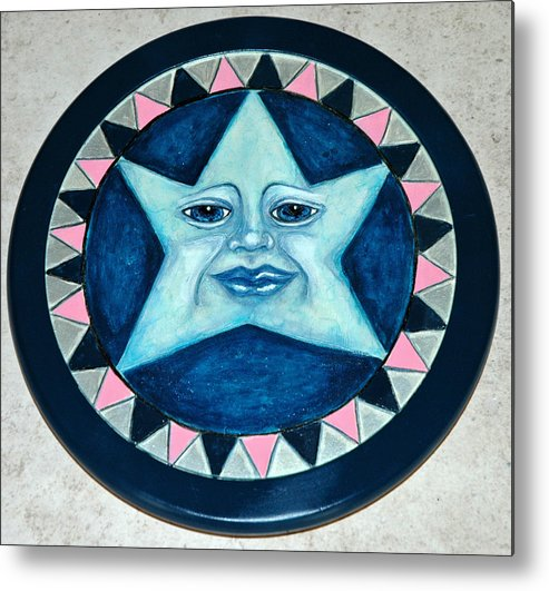 Whimsical Star Face Woodburned And Painted On Wooden Lazy Susan Metal Print featuring the mixed media Star Face Lazy Susan by Mickie Boothroyd