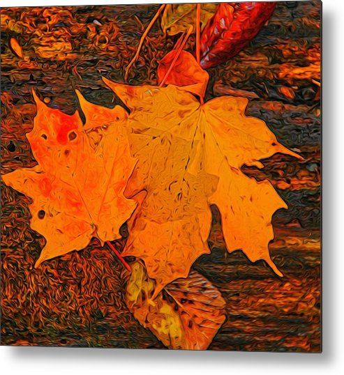 A Touch Of Autumn Metal Print featuring the digital art A Touch Of Autumn by Dan Sproul